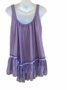 Anthropologie Cecico Womens Tank Top Purple Scoop Neck Tie Ruffle Layered L