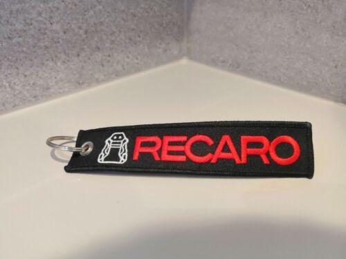 Recaro Seats Style Keychain Embroidered Keyring Key Pull Tag Bag Zip JDM