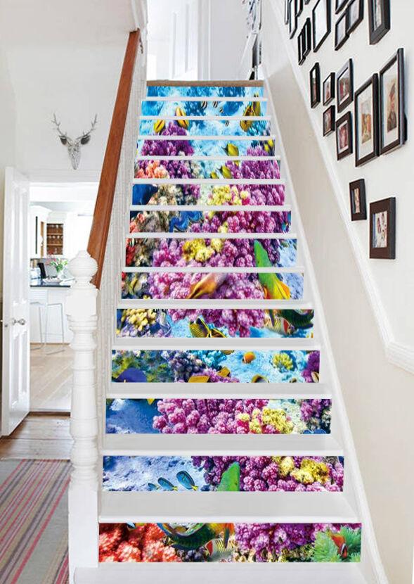 3D Lila Blaume 661 Stair Risers Dekoration Fototapete Vinyl Aufkleber Tapete DE