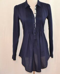 Anthropologie-HD-in-Paris-Navy-Blue-Cotton-Pin-Tuck-Button-Pullover-Top-Size-4