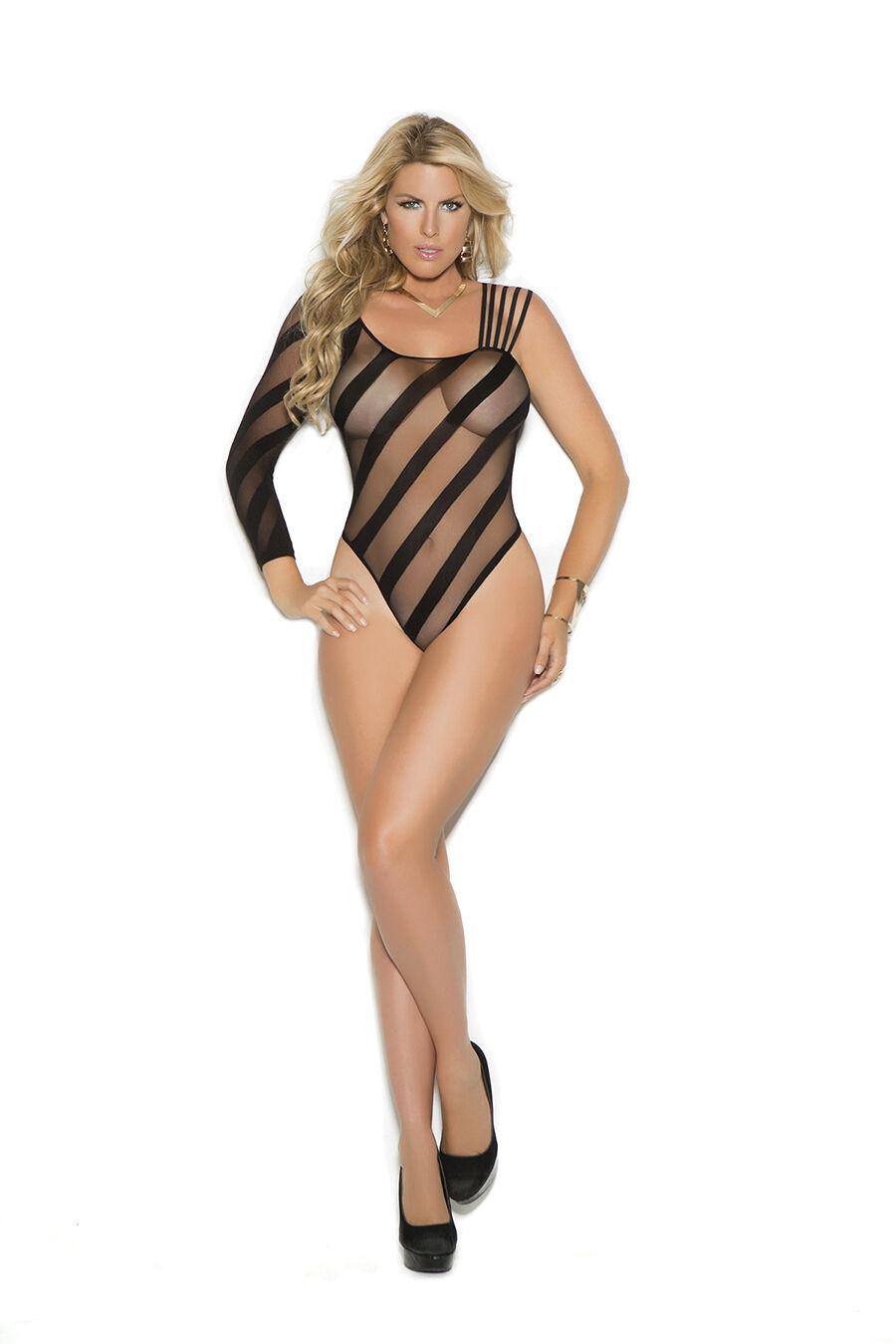 Seductive Sheer Burnout Teddy Stripe Detail Lingerie Adult Women Plus Size