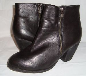 Ecote Black Leather Booties Ankle Boots 7.5 Short Double Zipper
