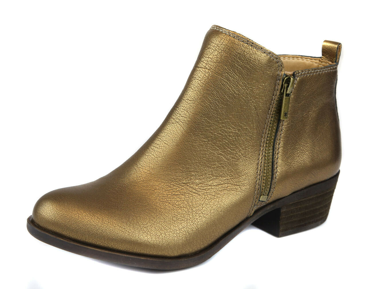 Lucky Brand Women's Old Bronze Basel Zipper Leather Bootie shoes Ret  129 New