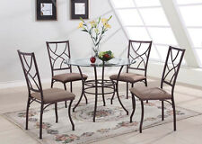 5 PC Set Round Glass & Metal Dining Room Kitchen Dinette Set Table And 4 Chairs
