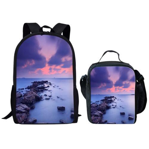 Wolf Horse Sky Girls School Bag Backpack Set Kid Women Lunchbox Shoulder Daypack