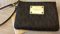 Michael Kors Brown Jet Set Small Signature Wristlet