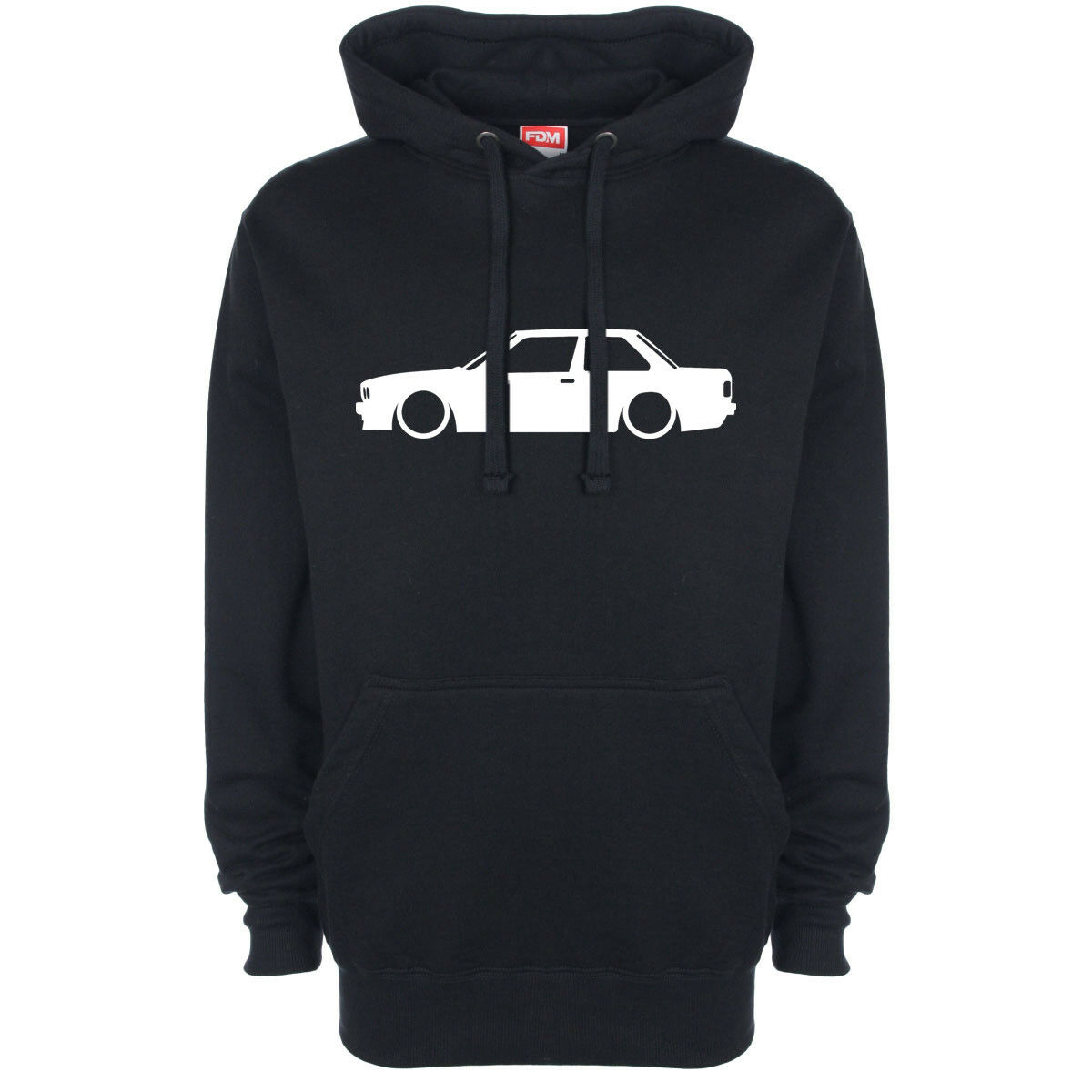 BMW E30 Side On Outline Silhouette Logo Hoody Hoodie Hooded Top