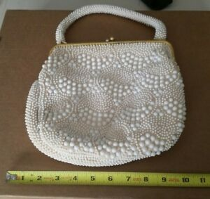 Vintage-White-Beaded-Handbag-Clutch-Purse-Unique-Hong-Kong-Retro-Look