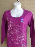 NEW JUST MY SIZE  L/S SCOOP  NECK TEE SHIRT PLUM  WITH  GLITZY GRAPHIC  1X