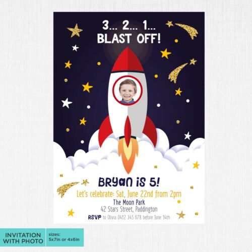 Space Party Invite Rocket Space Ship Invitation Galaxy Outer Space