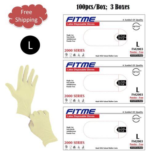 LARGE 300pcs  General Purpose FITME®  Latex Disposable Powder Free Gloves
