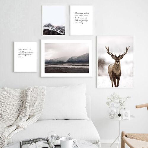 Nordic Decoration Poster Dear Mountain Nature Landscape Canvas Wall Art Print
