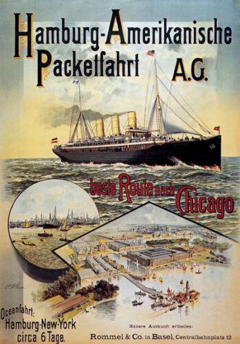 TX160 Vintage Hamburg-America German Cruise Steamer Ship Travel Poster A2//A3
