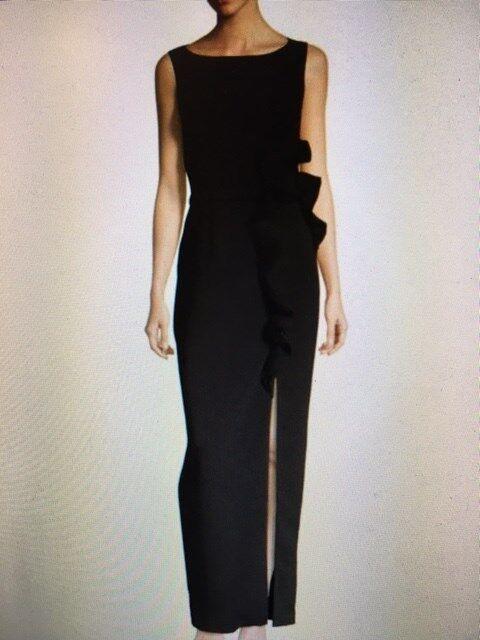 NEW black BY JATIN VARMA WOMENS RUFFLE COLUMN GOWN Size 10 New  995 Retail