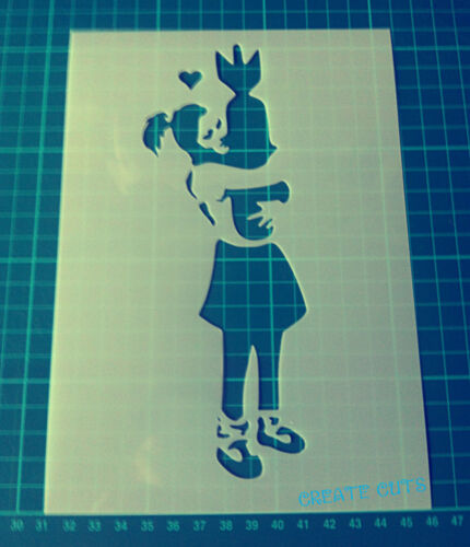 """Banksy Girl Hugging Bomb Large STENCIL Size 44.1/""""x16.4/"""" Wall art Painting"""
