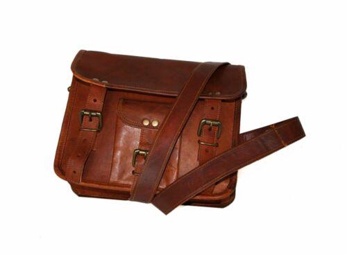 Genuine Leather Handmade Brown Messenger Shoulder Bag Backpack Retro Vintage