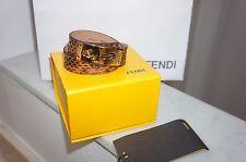 """NEW $475+FENDI Double Wrap Brown Water Snake Leather Bracelet GHW Sz L/16"""""""