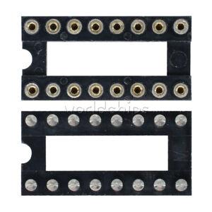 50pcs-16pin-Dip-SIP-runde-IC-Adapter-Sockets-Solder-Typ-vergoldet-bearbeitet