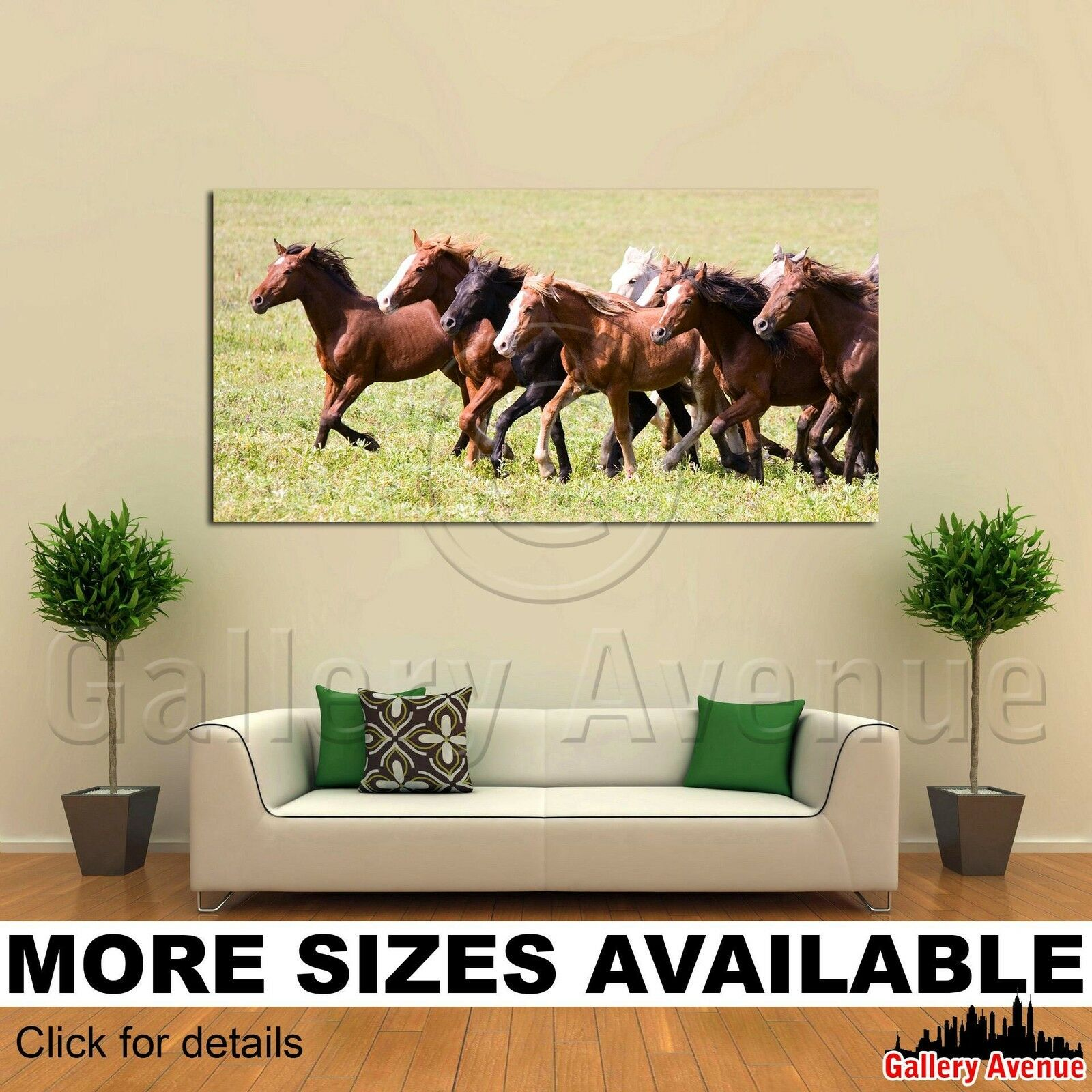 Wall Art Canvas Picture Print - Herd of Horses Running on Meadow 2.1