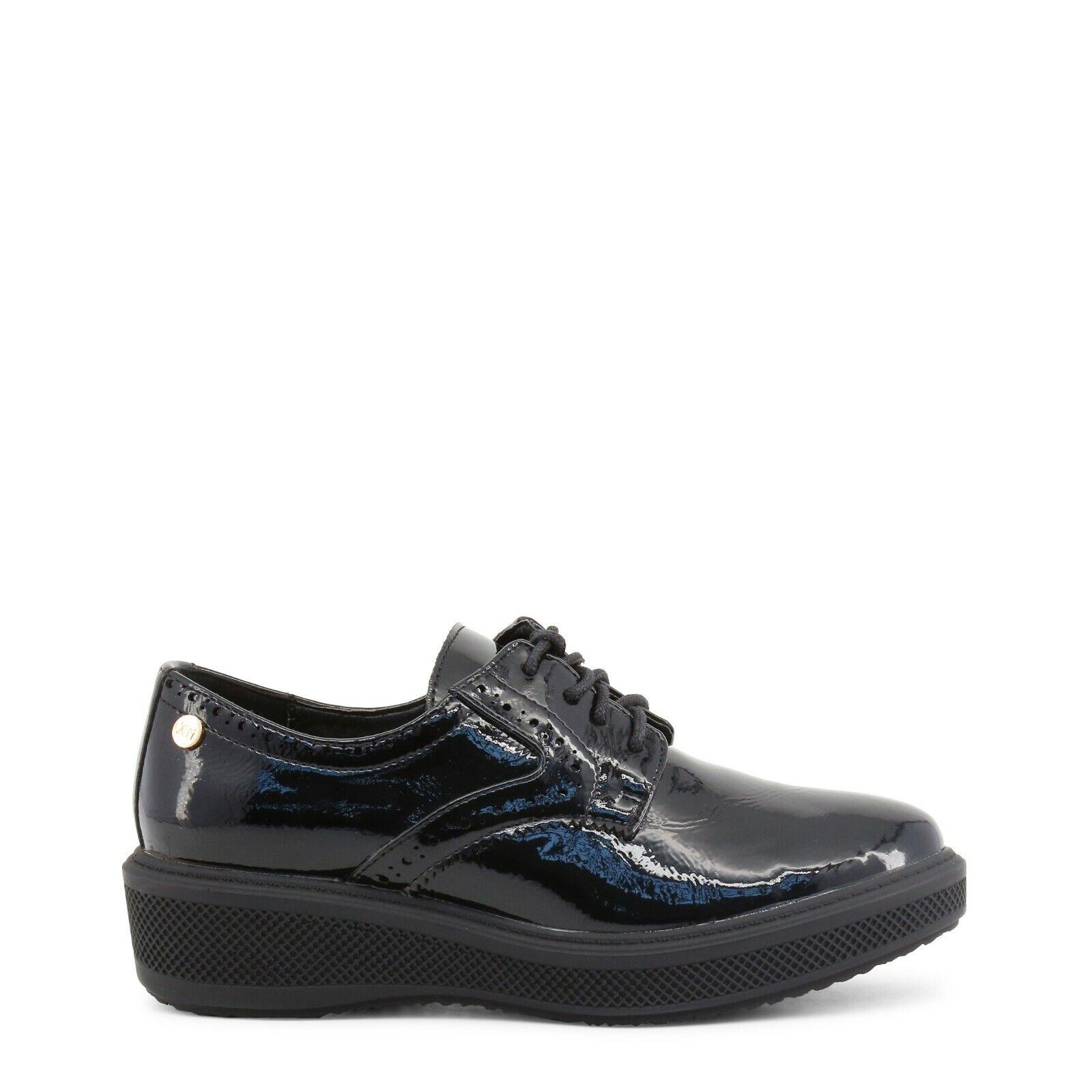 BNIB XTI Black Patent Lace Up Flat Low Wedge Heel Brogue shoes Sz 7 Work School