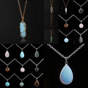 Natural-Stone-Bullet-Chakra-Healing-Pendant-Necklace-Quartz-Crystal-Gem-Point