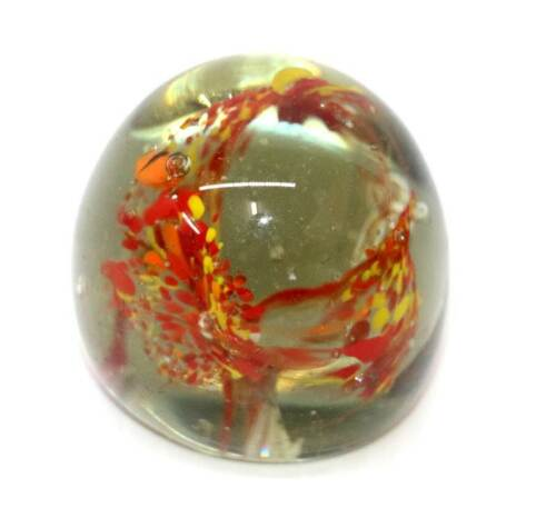 Vintage heavy glass red & yellow fireworks paperweight