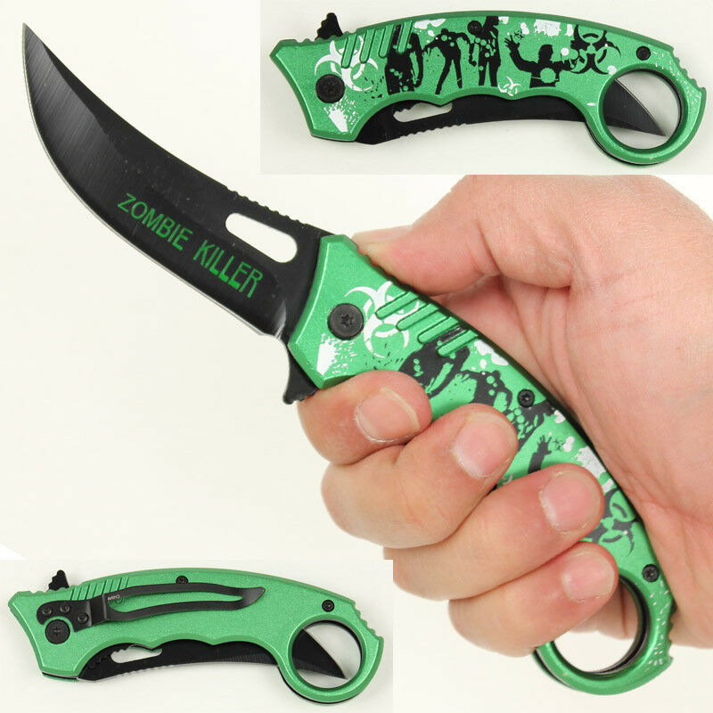 Shredded Undead Apocalypse Zombie Killer Karambit Folding Pocket Knife- Green