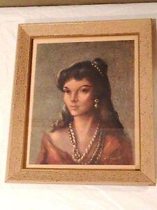 Beautiful Woman Portrait Print-signed R.f 1960's Beautiful! Harnett