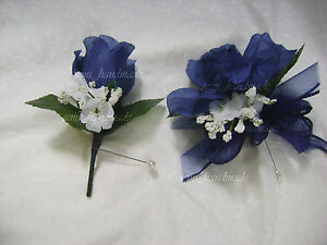 Navy Blue~Open Rose Pin Corsage~Boutonniere~wedding~Prom~party ...