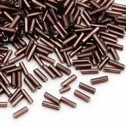 Seed FREE POSTAGE Silver-Lined 6x1.8mm 50gr RosyBrown Glass Bugle Beads
