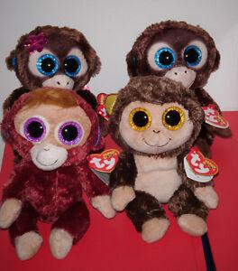 "Ty Beanie Boos - AUDREY, BORIS, OLGA & NADYA Monkey Set 6"" (Exclusives) NEW MWMT"