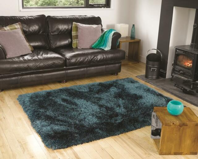 Extra Thick Pearl Teal Blue Shaggy Rug in various sizes