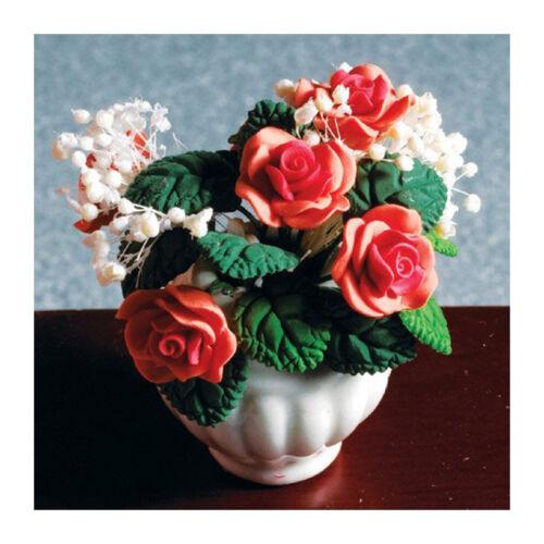 Dolls House 4362 pfirsichfarbene Rosen in Vase 1:12 für Puppenhaus NEU #