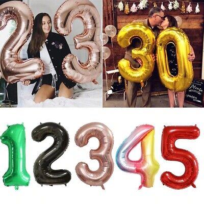 """16/"""" 32/"""" 40/""""  Foil Number Balloons Self Inflating Happy Birthday Age Party Decor"""