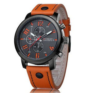 Men-039-s-Fashion-Leather-Stainless-Steel-Sport-Analog-Quartz-Wrist-Watch-Waterproof