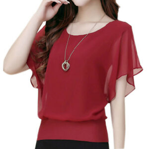 Fashion-Women-Ladies-Summer-Loose-Casual-Chiffon-Short-Sleeve-Shirt-Tops-Blouse