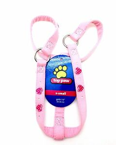 Top Paw Dog Pet Step In Harness Puppy Harnais Pink Hearts Extra Small Girth 14""