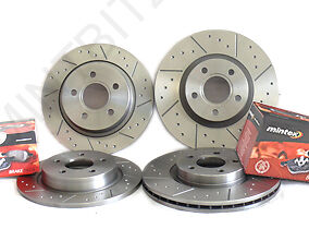 Volvo 850 2.3 T5 93-96 Dimpled & Grooved Front & Rear Brake Discs & Mintex Pads