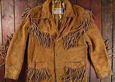 VINTAGE Schott WESTERN marrone in pelle e pelle scamosciata con frange RANCH Giacca Cowboy Usa M 40