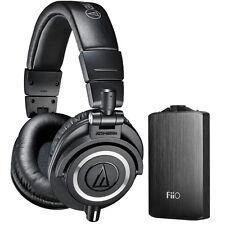 Audio-Technica ATH-M50X Pro Studio Headphones & Fiio A3 Amplifier Bundle (Black)