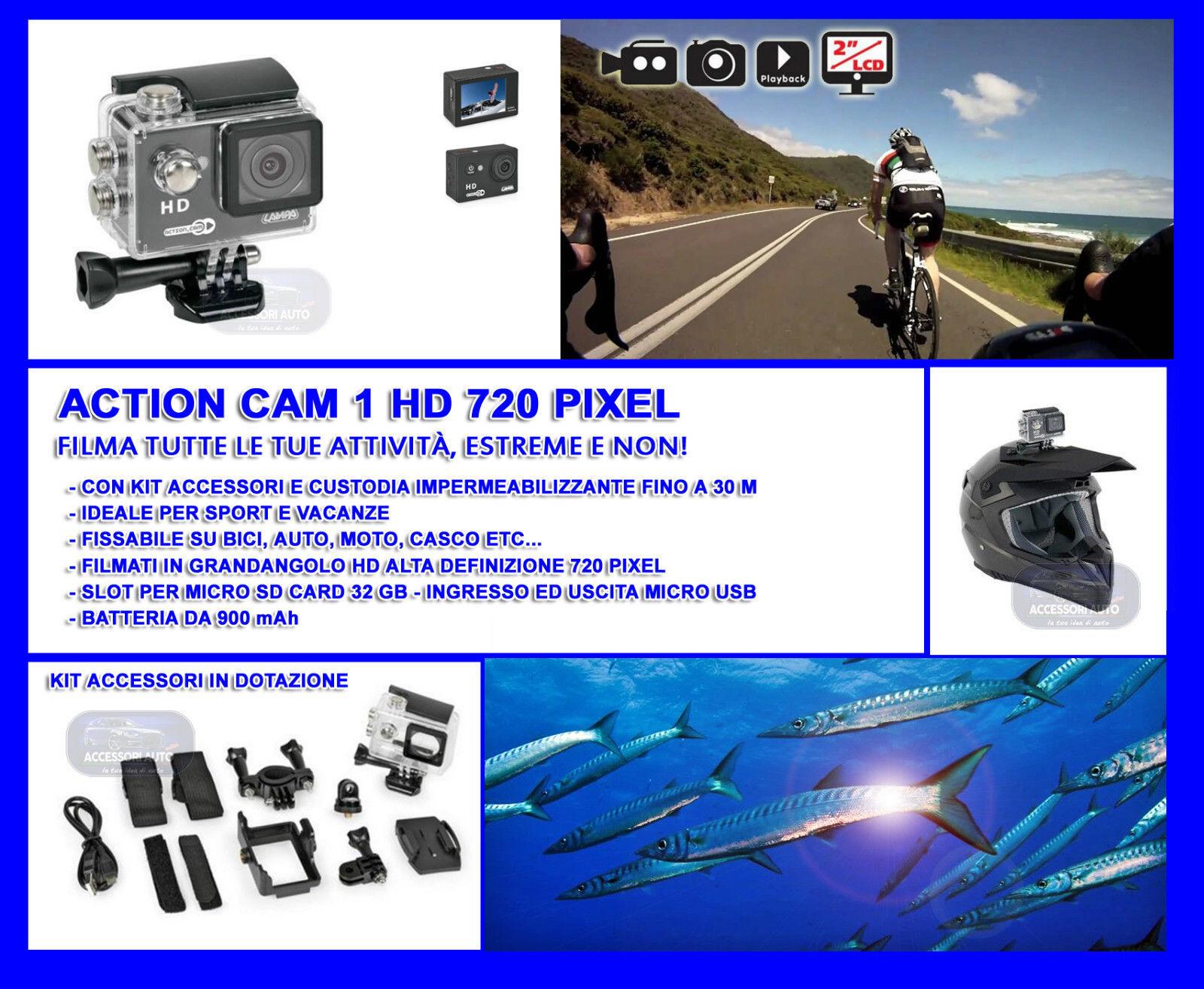 Videocamera impermeabile da casco con custodia impermeabile Videocamera subacquea sub moto sci bicicletta e15985