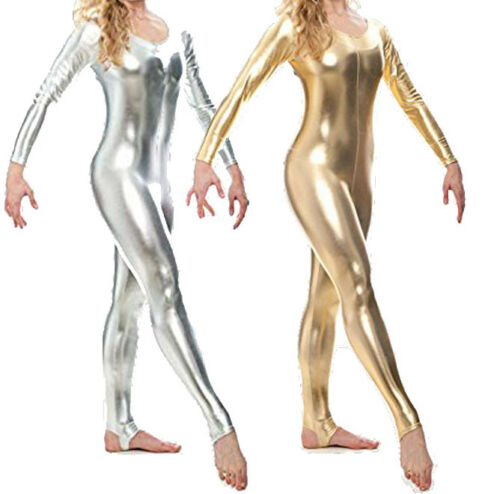 Silver or Gold Long Sleeve Stirrup Dance Unitard Fancy Dress Gymnastic Catsuit