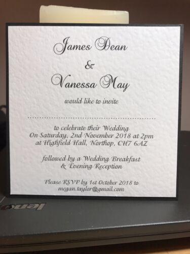 10 MARIAGE INVITATIONS-élégant noir /& blanc collection-dos plat design