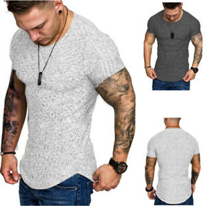 Fashion-Men-039-s-Muscle-Gym-Crew-Neck-Fitness-Short-Sleeve-Solid-Color-T-Shirts-B