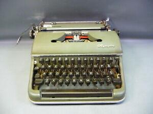 Vintage Olympia De Luxe Portable Green Typewriter