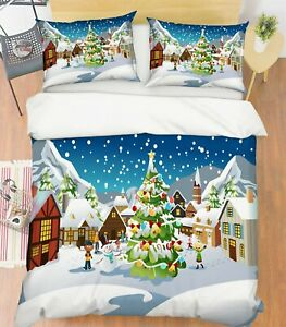 3D-Xmas-Tree-Snowman-A25-Christmas-Bed-Pillowcases-Quilt-Duvet-Cover-Zoe