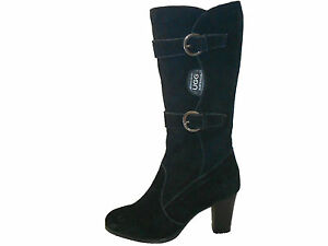 fb85fab3d10 Details about Australian Genuine Sheepskin Lady's Fashion Tall Ugg Boots  Two Buckles Black