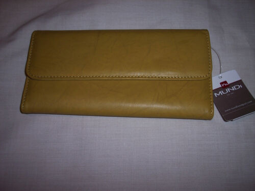 """Tri-Fold Mundi  Leather Wallet 7-1//2/"""" x 3-3//4/"""" Marbled Leather Yellow//Green"""
