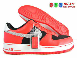 best website d623d 49083 Image is loading NIKE-AIR-FORCE-1-iD-RED-BLACK-GREY-