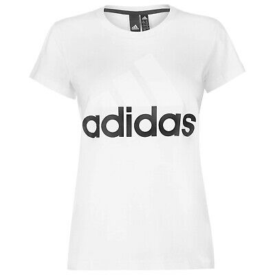 LADIES WOMENS GREY PINK ADIDAS LINEAR CREW NECK SHORT SLEEVE TEE SHIRT T-SHIRT